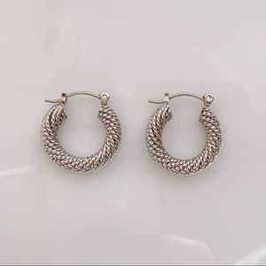 Jewelry - SILVER HOOP EARRINGS TEXTURED THICK TUBE HOOPS